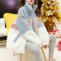 Women's large Winter 2020 Picture color M (suitable for 90-110 kg) l (suitable for 110-140 kg) XL (suitable for 140-170 kg) 2XL (suitable for 170-200 kg) Sweater / sweater singleton  commute easy thickening Cardigan Long sleeves Solid color Korean version stand collar routine printing and dyeing