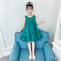 Dress Pink, green female Other / other 110 (recommended height 100cm), 120 (recommended height 110cm), 130 (recommended height 120cm), 140 (recommended height 130cm), 150 (recommended height 140cm), 160 (recommended height 150cm) Other 100% summer lady Skirt / vest Solid color other A-line skirt