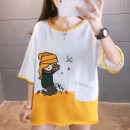 T-shirt Brown yellow green M L XL XXL Summer 2021 Short sleeve Crew neck easy Medium length routine commute cotton 86% (inclusive) -95% (inclusive) 18-24 years old Korean version originality Cartoon animation Dellette Three dimensional decorative cloth for pocket Cotton 95% polyester 5%