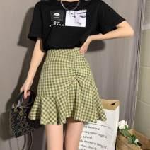 skirt Summer 2020 S,M,L,XL,2XL,3XL,4XL Black, purple, black, green Short skirt Versatile High waist Irregular lattice Type A other other Pleating, asymmetry, zipper