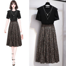 Dress Summer 2021 Suit - Black T-Shirt - Black Skirt - Black Floral S M L XL XXL Mid length dress Two piece set Short sleeve commute Crew neck High waist Broken flowers Socket A-line skirt routine Others 25-29 years old Type A Yezatiio / yezatiio Korean version Chain fold YT21X-21056+825 other