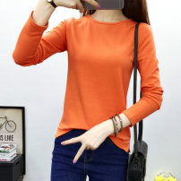 T-shirt Gray, white, black, orange M. L, XL, 2XL, receive and give small gifts Spring of 2019 Long sleeves Crew neck Self cultivation Regular routine commute cotton 86% (inclusive) -95% (inclusive) 25-29 years old Simplicity youth Solid color Hani tide 865 solid