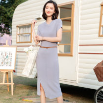 Dress Spring of 2019 Navy, mauve, pink S,M,L Mid length dress singleton  Short sleeve commute V-neck High waist Solid color Socket A-line skirt routine Others 25-29 years old Type A Saison de Papillon Simplicity SJ1399 31% (inclusive) - 50% (inclusive) knitting nylon