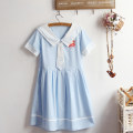 Dress Summer 2021 Sky blue, white Average size Short skirt singleton  Short sleeve Sweet Admiral High waist Cartoon animation Socket A-line skirt routine Others Under 17 Type A printing 51% (inclusive) - 70% (inclusive) brocade cotton solar system