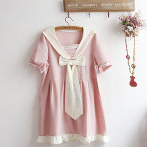 Dress Summer 2021 Pink Average size Short skirt singleton  Short sleeve Sweet Admiral High waist Solid color Socket A-line skirt routine Others Under 17 Type A Bow tie More than 95% Chiffon polyester fiber solar system