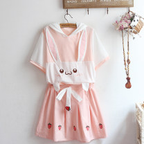 T-shirt Skirt (Note: strawberry on the front), t, t + skirt set Average size Summer 2021 Short sleeve Hood easy Regular routine Sweet cotton 86% (inclusive) -95% (inclusive) Under 17 Cartoon animation Stick cloth, three-dimensional decoration solar system