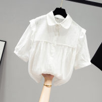shirt white S M L XL Summer 2021 other 96% and above Short sleeve commute Regular Doll Collar routine Solid color 18-24 years old Straight cylinder Yamais / yamas Korean version Button Other 100% Pure e-commerce (online only)