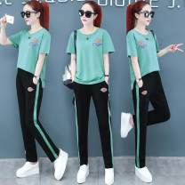 Women's large Summer 2020 Blue Black Pink Green M [recommended 80-95 Jin] l [95-110 Jin] XL [110-125 Jin] 2XL [125-140 Jin] 3XL [140-155 Jin] 4XL [155-175 Jin recommended] Other oversize styles Two piece set commute Socket Korean version Three dimensional cutting 2099x Xiuman 35-39 years old