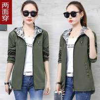 short coat Autumn of 2018 M L XL 2XL 3XL 4XL Black [8828] bean green [8828] pink [8828] army green [8828] black [8828 plus cotton] army green [8828 plus cotton] bean green [8828 plus cotton] Long sleeves routine Thin money singleton  easy commute routine Hood Solid color 25-29 years old Xiuman nylon