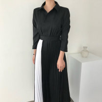 Women's large Autumn 2020 Blue black S M L XL XXL Dress singleton  commute moderate Long sleeves Korean version other routine Isano 18-24 years old Medium length Other 100% Pure e-commerce (online only)