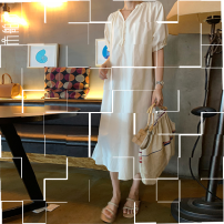Dress Autumn 2020 Mustard / mustard, conch / Sora, Ivory / Ivory Single size (order 15 days), free singleton  Short sleeve commute Crew neck Loose waist Solid color Socket other raglan sleeve 30-34 years old Other / other Korean version z0ePiwEe