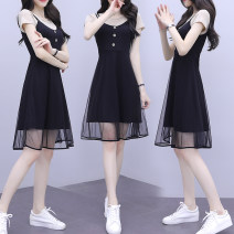 Dress Summer 2020 Apricot, pink M,L,XL,2XL,3XL longuette Fake two pieces commute Crew neck middle-waisted Solid color Socket A-line skirt routine 18-24 years old Type A Korean version 5904#