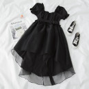Dress Summer 2021 black S,M,L Mid length dress singleton  Short sleeve commute square neck High waist Solid color Socket A-line skirt puff sleeve 18-24 years old Type A Splicing, asymmetric polyester fiber