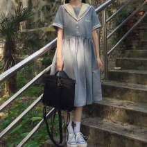 Dress Summer 2021 Navy short sleeves, blue short sleeves S,M,L Mid length dress singleton  Short sleeve commute Admiral High waist letter Socket A-line skirt routine Others 18-24 years old Type A Korean version Splicing 20210301WF18 51% (inclusive) - 70% (inclusive) cotton