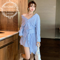 Dress Autumn 2016 White, stripe, khaki S | high quality goddess essential, m | 7 days no reason to return, l | Buyer show cash back 10 yuan Short skirt singleton  Long sleeves commute One word collar Loose waist Solid color Socket Irregular skirt other Others 18-24 years old Zoelli H0726 other other