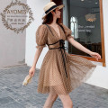 Dress Summer 2020 Wave point S | high quality goddess essential, m | 7 days no reason to return, l | Buyer show cash back 10 yuan Short skirt singleton  Short sleeve Sweet V-neck High waist Solid color zipper Big swing other Others 25-29 years old MIDIE Stitching, ruffle, zipper, collage / stitching