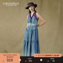 Dress Summer 2021 Still blue XS S M L XL XXL longuette singleton  Sleeveless commute V-neck High waist Single breasted A-line skirt other 30-34 years old Type A Donoratico/ danyan literature Splicing DAUU080422 More than 95% other cotton Cotton 100%