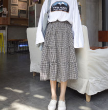 skirt Spring 2017 XXS [pre sale] one size fits all Black and white Mid length dress commute High waist A-line skirt stripe Type A 18-24 years old 51% (inclusive) - 70% (inclusive) Other / other Korean version