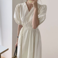 Dress Summer 2021 Blue, purple, pure white, pink S,M,L,XL,2XL Mid length dress singleton  Short sleeve commute V-neck High waist Solid color other Pleated skirt routine 18-24 years old Type X Korean version 51% (inclusive) - 70% (inclusive) other cotton