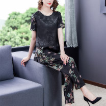 Women's large Summer 2021 Picture color L XL 2XL 3XL 4XL Other oversize styles Two piece set commute Self cultivation thin Socket Short sleeve Decor Korean version Crew neck routine other printing and dyeing routine SDA04NRJ5015 Book Butterfly 40-49 years old Three dimensional decoration Other 100%