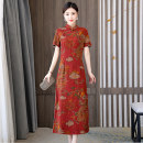 Dress Summer 2021 Safflower L XL 2XL 3XL 4XL Mid length dress singleton  Short sleeve commute stand collar middle-waisted Decor zipper A-line skirt routine Others 40-49 years old Type A Book Butterfly ethnic style Three dimensional decorative button printing SDE53NRJ1711 More than 95% other other