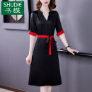 Dress Summer 2021 black M L XL 2XL 3XL Mid length dress singleton  Short sleeve commute V-neck middle-waisted Solid color zipper A-line skirt routine Others 40-49 years old Type A Book Butterfly Korean version Frenulum SD358BH3212 More than 95% other other Other 100% Pure e-commerce (online only)