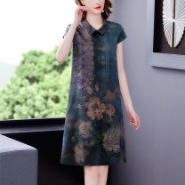 Dress Summer 2021 Red, blue, national color and heavenly fragrance L XL 2XL 3XL 4XL Mid length dress singleton  Short sleeve commute Polo collar middle-waisted Decor zipper A-line skirt routine Others 40-49 years old Type A Book Butterfly Korean version printing SDB28NRJ9437 other silk