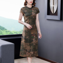 Dress Summer 2021 green L XL 2XL 3XL 4XL Mid length dress singleton  Short sleeve commute stand collar middle-waisted Decor zipper A-line skirt routine Others 40-49 years old Type A Book Butterfly ethnic style printing SD351BH6591 71% (inclusive) - 80% (inclusive) other silk Silk 80% others 20%