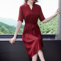 Dress Summer 2021 Burgundy Navy M L XL 2XL 3XL 4XL Mid length dress singleton  Short sleeve commute V-neck middle-waisted Solid color Socket A-line skirt routine Others 40-49 years old Type A Book Butterfly Korean version Bowknot stitching strap button More than 95% other other Other 100%