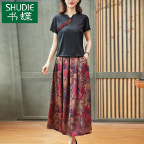 Dress Summer 2021 Black suit red suit M L XL 2XL 3XL Mid length dress Two piece set Short sleeve commute Crew neck middle-waisted Decor zipper A-line skirt routine Others 40-49 years old Type A Book Butterfly ethnic style printing SD422BH7926 71% (inclusive) - 80% (inclusive) other silk
