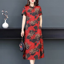 Dress Summer 2021 gules L XL 2XL 3XL 4XL 5XL Mid length dress singleton  Short sleeve commute Polo collar middle-waisted Decor zipper A-line skirt routine Others 40-49 years old Type A Book Butterfly ethnic style Pocket print SDE220NRJ8565 71% (inclusive) - 80% (inclusive) other silk