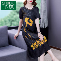 Dress Summer 2021 black L XL 2XL 3XL 4XL Mid length dress singleton  Short sleeve commute Crew neck middle-waisted Decor zipper Pencil skirt routine Others 40-49 years old Type A Book Butterfly Korean version printing SD339BH8706 71% (inclusive) - 80% (inclusive) other silk Silk 80% others 20%