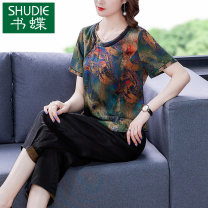 Women's large Summer 2021 Decor L XL 2XL 3XL 4XL Other oversize styles Two piece set commute Self cultivation thin Socket Short sleeve Decor ethnic style Crew neck routine other printing and dyeing routine SDB06NRJ9015 Book Butterfly 40-49 years old Three dimensional decoration Other 100% Ninth pants