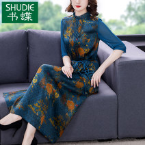 Dress Summer 2021 blue M L XL 2XL 3XL 4XL Mid length dress singleton  elbow sleeve commute stand collar middle-waisted Decor zipper A-line skirt routine Others 40-49 years old Type A Book Butterfly ethnic style Three dimensional decorative printing with lace up SDE267NRJ5510 More than 95% other other