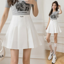 skirt Summer 2021 S M L XL White, blue, black Short skirt Versatile High waist Pleated skirt Solid color Type A 25-29 years old JY#807 More than 95% Ji Yue other fold Other 100%