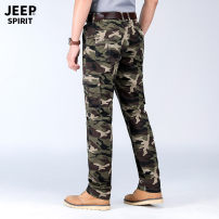Casual pants Jeep / Jeep Fashion City Grey, army green thin trousers Other leisure easy Micro bomb summer Large size tide 2021 middle-waisted Straight cylinder Overalls Pocket decoration camouflage International brands