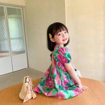 Dress female Other / other Other 100% summer Korean version Short sleeve Broken flower cotton A-line skirt 1376 other 2 years old, 3 years old, 4 years old, 5 years old, 6 years old, 7 years old, 8 years old Picture color 90cm,100cm,110cm,120cm,130cm,140cm