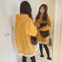 Sweater / sweater Winter of 2019 M L XL 2XL Long sleeves Medium length Socket Fake two pieces Plush Hood easy commute routine Solid color 18-24 years old Newciiteer Korean version polyester fiber Cotton liner