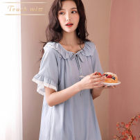 Nightdress Touch miss Off white, bean paste, light blue, calendula 160(M),165(L),170(XL),175(XXL),3XL Simplicity Short sleeve pajamas Middle-skirt summer Solid color Crew neck cotton bow 41% (inclusive) - 60% (inclusive) Tencel cotton T21032907S