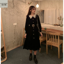 Dress Summer 2020 black S M L longuette singleton  Long sleeves Sweet Doll Collar Elastic waist A-line skirt 18-24 years old Type A Eugenome ddd731 More than 95% other Triacetate fiber (triacetate fiber) 100% Ruili