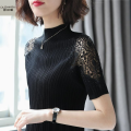 T-shirt M L XL 2XL 3XL Summer 2020 three quarter sleeve Half high collar Self cultivation Regular commute other 96% and above Simplicity Eugenome PU Pure e-commerce (online only)