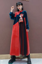 Dress Winter 2020 gules S M L longuette singleton  Long sleeves commute stand collar Loose waist Solid color Socket A-line skirt routine Others 25-29 years old Type A Jiangdan Menglu printing 31% (inclusive) - 50% (inclusive) knitting cotton New polyester fiber 60% cotton 40%