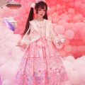 Dress Summer of 2019 Pink jsk Large, small Mid length dress singleton  Sleeveless Sweet Crew neck middle-waisted Cartoon animation other Princess Dress other camisole 18-24 years old Type A Lolita skirt 81% (inclusive) - 90% (inclusive) other other Lolita