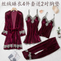 Pajamas / housewear set female Elegant and elegant M [recommended 80-100 kg], l [recommended 100-120 kg], XL [recommended 120-140 kg], 2XL [recommended 140-160 kg] Polyester (polyester) Long sleeves sexy pajamas autumn thickening V-neck Solid color trousers Tether youth rubber string More than 95%
