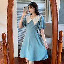 Dress Summer 2021 Lake blue, black M [80-100 Jin], l [100-120 Jin], XL [120-140 Jin], 2XL [140-160 Jin], 3XL [160-180 Jin], 4XL [180-200 Jin] 18-24 years old