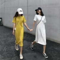 Dress Summer 2021 White, blue, yellow, black, white vest S,M,L,XL,2XL Mid length dress singleton  Short sleeve commute Crew neck Loose waist Solid color Socket other routine Others Retro 31% (inclusive) - 50% (inclusive) polyester fiber
