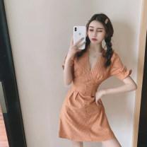 Women's large Summer 2021 orange dress  S,M,L singleton  Sweet Short sleeve lattice V-neck pagoda sleeve Q1119602 18-24 years old Short skirt other solar system