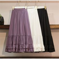 skirt Summer 2020 Average size White spot, black spot, purple spot Mid length dress commute High waist Ruffle Skirt Solid color Type A 91% (inclusive) - 95% (inclusive) other other Korean version