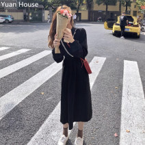Dress Winter 2020 black S,M,L Mid length dress singleton  Long sleeves commute V-neck Elastic waist Solid color A-line skirt puff sleeve Others 18-24 years old Korean version Ruffles , Pleating , Sticking cloth , fungus , Splicing , Button brocade other