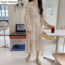 Dress Autumn 2020 Apricot S,M,L,XL Mid length dress singleton  Long sleeves commute stand collar Elastic waist Broken flowers A-line skirt Lotus leaf sleeve Others 18-24 years old Type A Korean version Bow, ruffle, lace, stitching, bandage, printing Chiffon polyester fiber